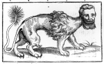 XJF444379 Manticore from 'Historie of Foure-Footed Beastes' by Edward Topsell, published 1607 (woodcut) by Topsell, Edward (c.1572-1625); Private Collection; (add.info.: Topsell's zoological treatise described animals both real, legendary and mythical; The manticore is a legendary creature similar to the Egyptian sphinx; It has the body of a lion, tail of a dragon and a human head with three rows of sharp teeth; The manticore devours its prey whole;); English,  out of copyright